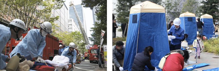 三菱地所グループの防災訓練の写真